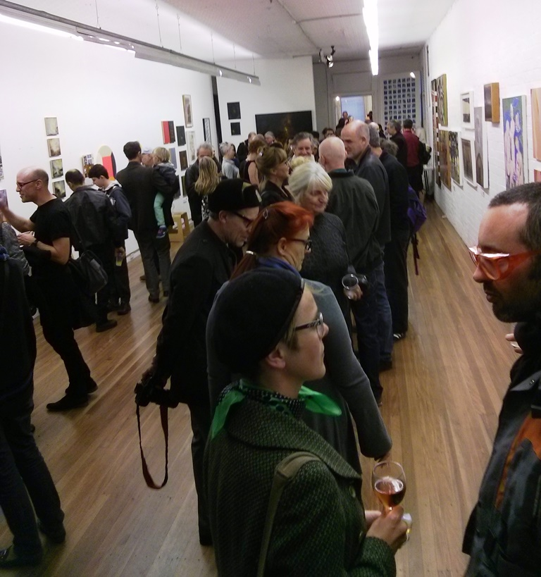 Exhibition opening at Damien Minton Gallery, Sydney, 2014. Photograph: Chloé Wolifson
